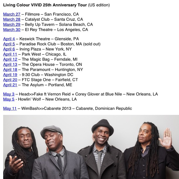 Living Colour Vivid 25th Anniversary Tour US 2013